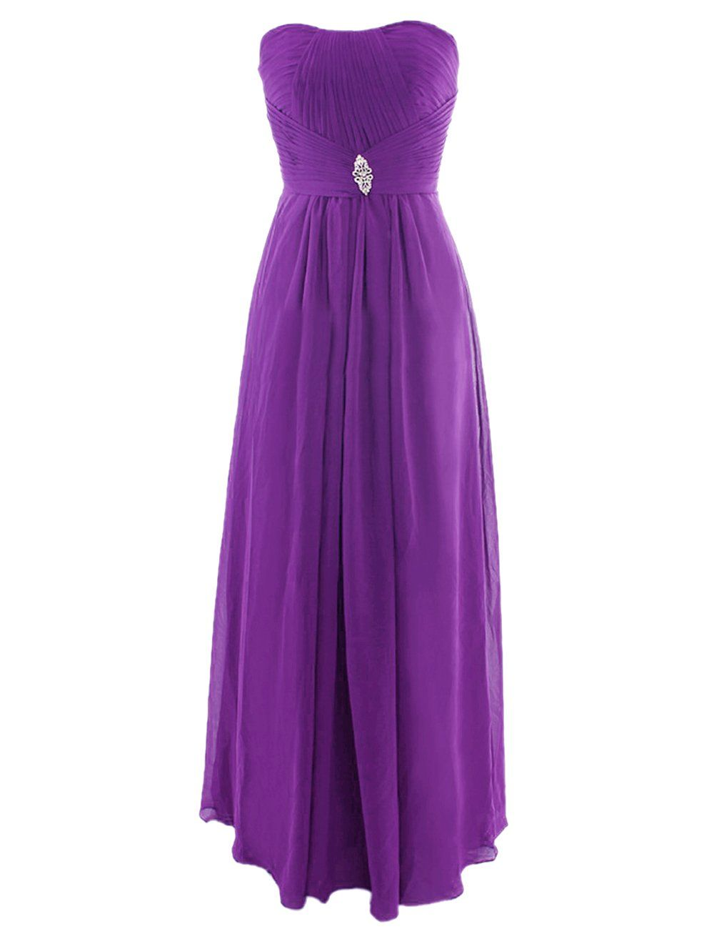 Diyouth Strapless Long Bridesmaid Dresses Beading Chiffon Prom Party ...