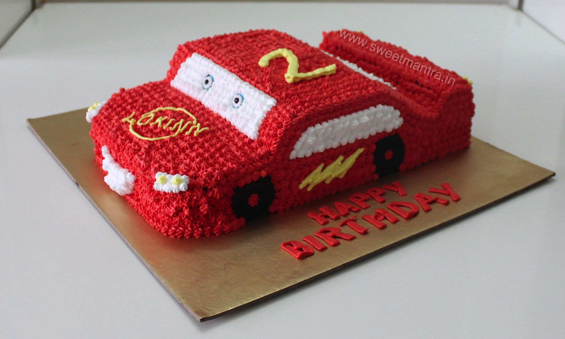 Homemade Eggless 3D Custom McQueen Car Theme Fresh Cream 2nd Birthday Cake For Boy At Wakad Pune