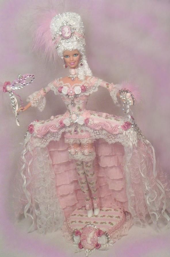 barbie marie antoinette victorian rose cameo pink gown doll altered ooak passion - Barbie Marie