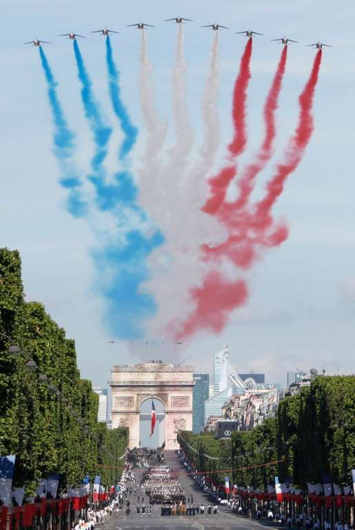 Alpha Jets Fly Over The Arc De Triomphe Leaving A Red White And