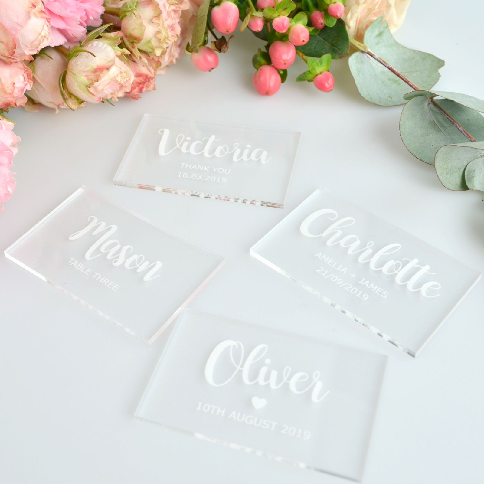 Engraved Acrylic Clear Rectangle Wedding Placecards | Acrylics ...