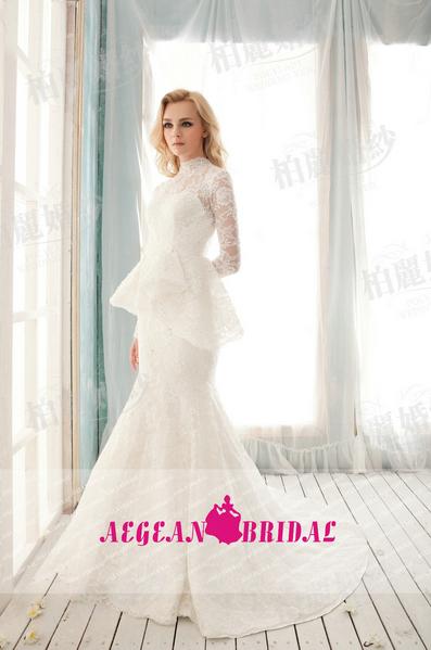 Lace Peplum Wedding Dress