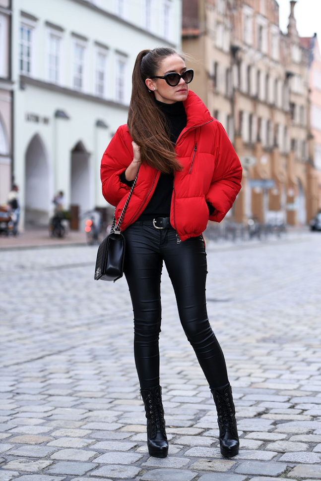 Todays Outfit | Red jacket outfit, Puffer jacket outfit
