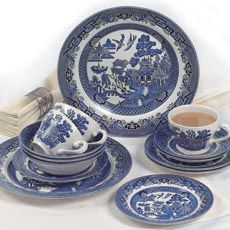 Churchill China Blue Willow 20 Piece Dinner Set English Setting For Four & Churchill Blue Willow Dinnerware | ... china tableware and Churchill ...