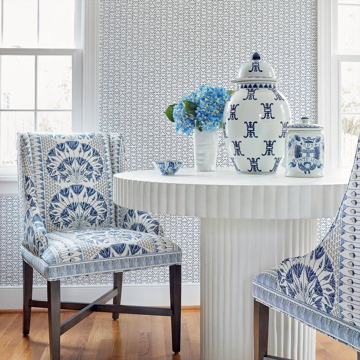 Anna French Pyramid Blue Wallpaper AT9693 in 2020 Blue