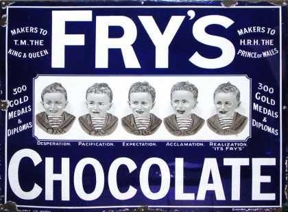 Frys Five Boys Chocolate Sign Medium Size Vintage Ads