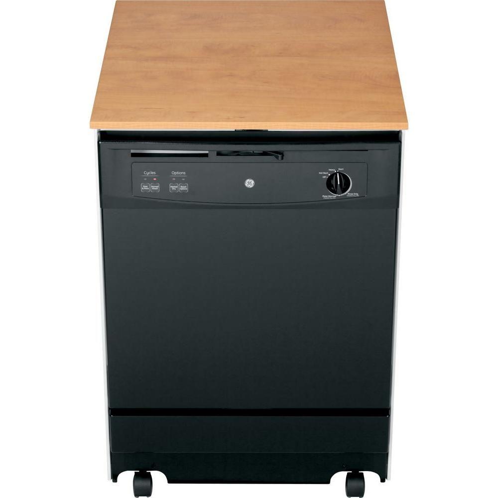 GE Convertible Portable Dishwasher in White, 64 dBA