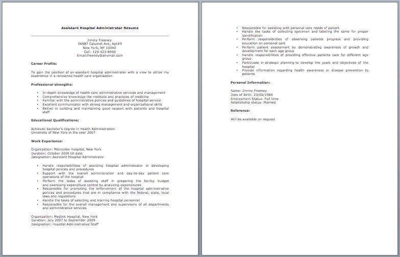 Assistant Hospital Administrator Resume  Resume Sample