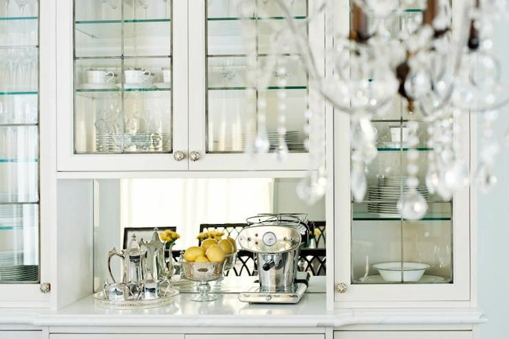 Dining Room Features Built In China Cabinet With Glass Front Cabinets Accented
