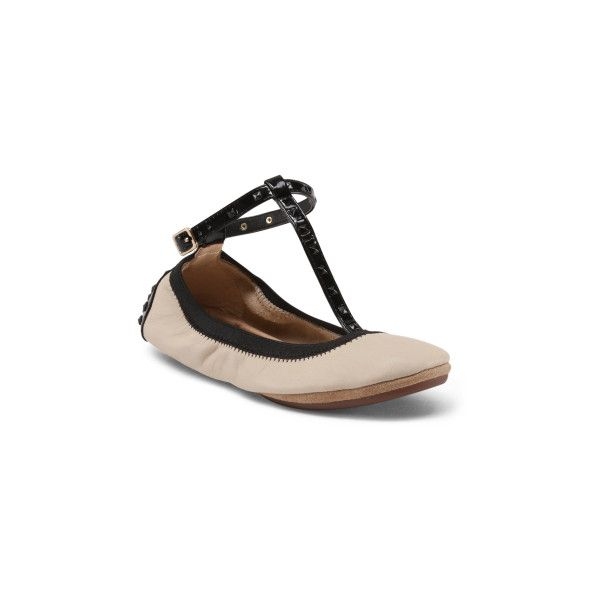 Round Toe Leather Ballet Flats ($30) ❤ liked on Polyvore featuring shoes, flats, ankle strap ballet flats, two tone ballet flats, ballet shoes, ankle wrap flats and ballet pumps