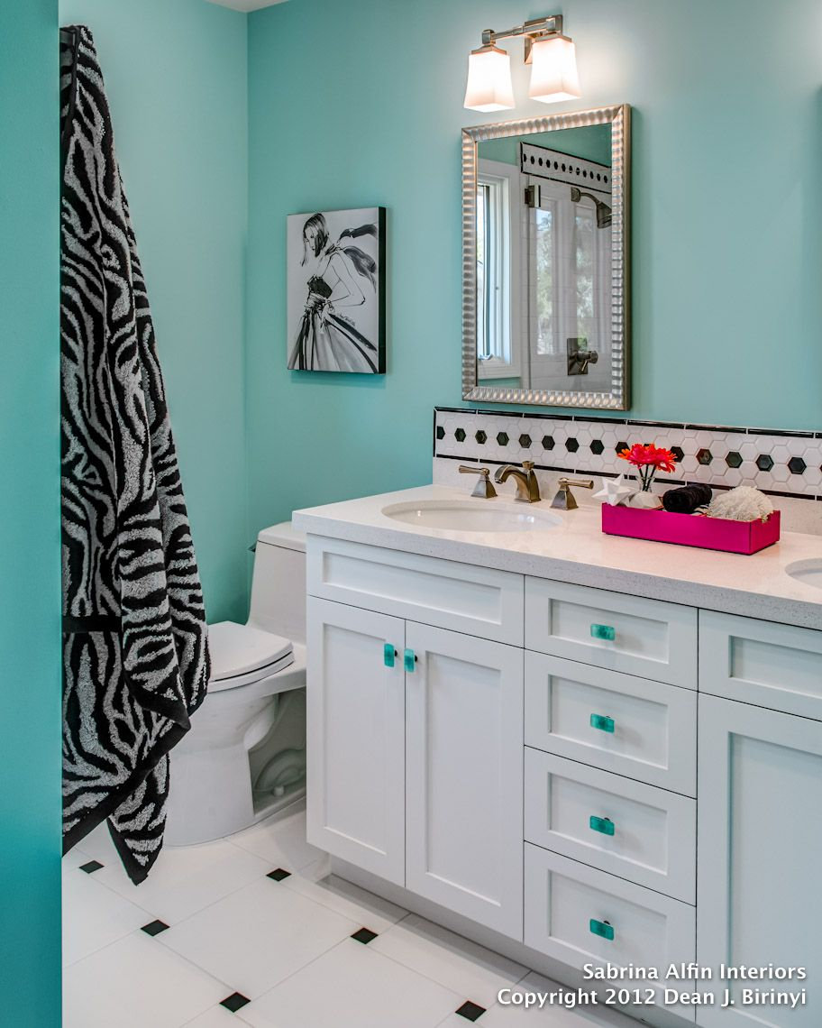 Bathroom Pic Girl: Colorful Glam In A Shared Bath For Teen Sisters.