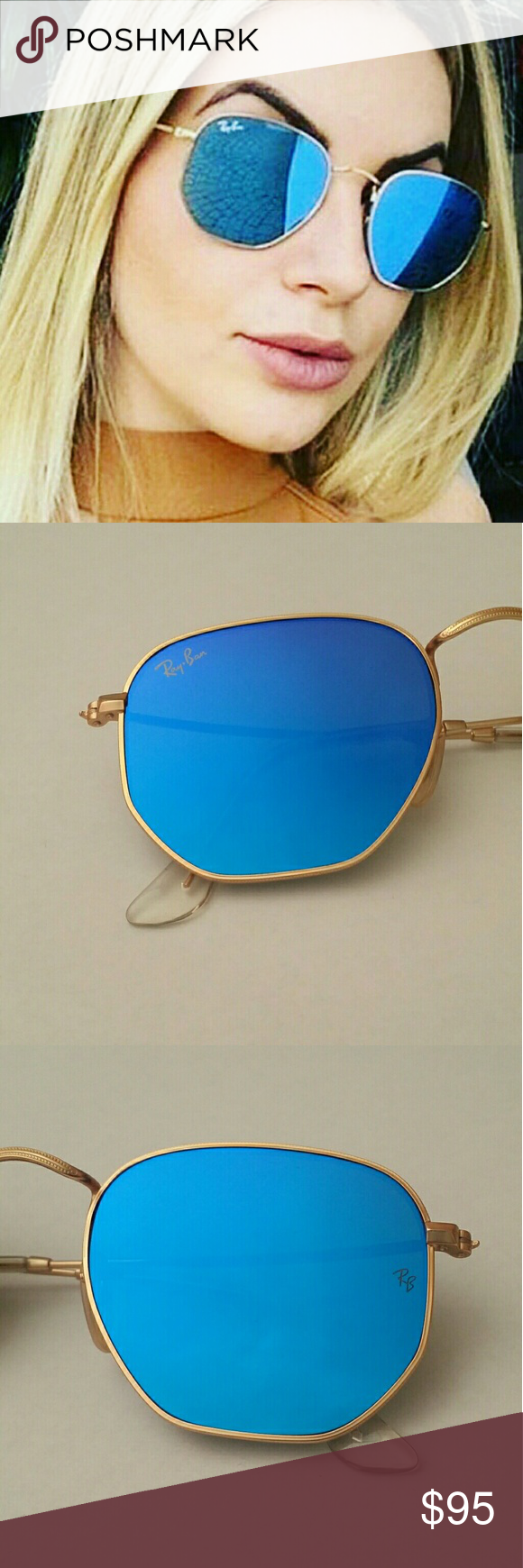 08abb9632 AUTHENTIC! RAY-BAN HEXAGONAL BLUE / GOLD FRAME NO LOW BALL OFFERS ...