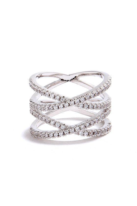 Double Helix Silver Rhinestone Ring | joyas | Pinterest