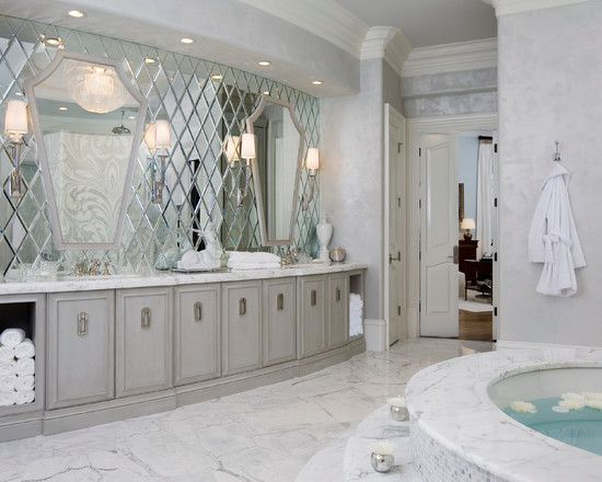 Nice Interesting Small Beveled Mirror Tiles: Contemporary Bathroom The Beveled Mirror  Wall Behind The Vanity Fairy Part 32
