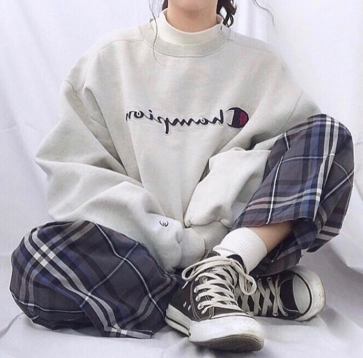Photo of korean fashion fall casual outfit white champion sweater blue check trousersv