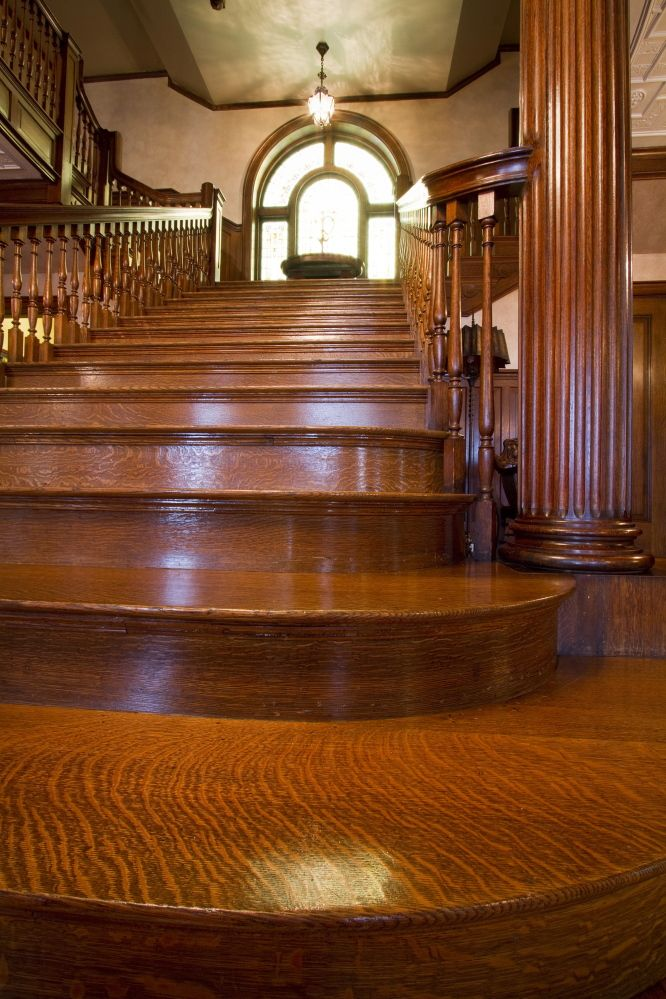 The Grand Staircase Of Portland S West Mansion 1910 Is Made Of Tiger Maple Portland Maine Mansions Grand Staircase Staircase