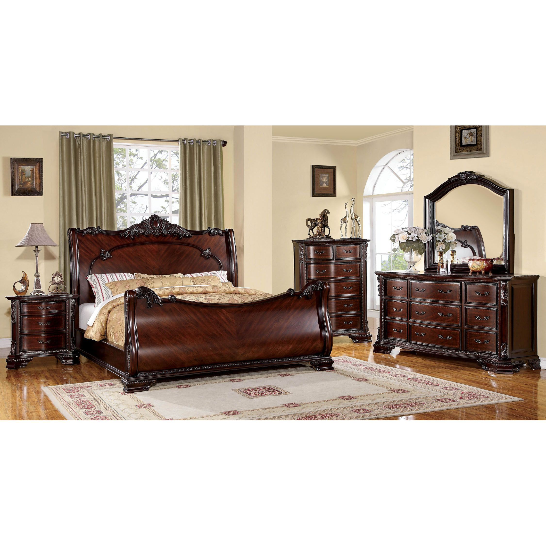 Furniture of America Luxury Brown Cherry 4-Piece Baroque Style ...