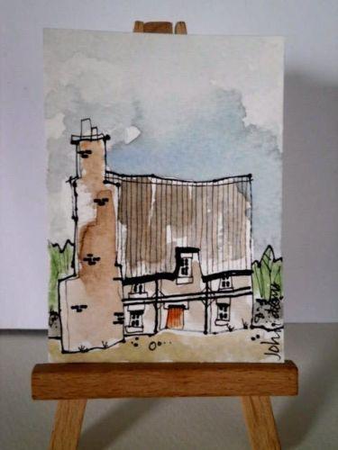 Original-Pintura-Acuarela-ACEO-Casa-de-humo-de-antiguas