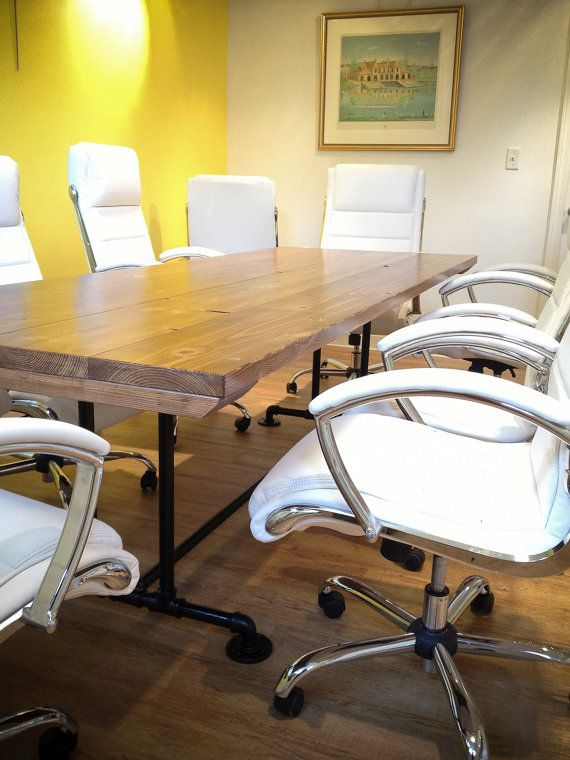 8ft Industrial Conference Table Solid Wood