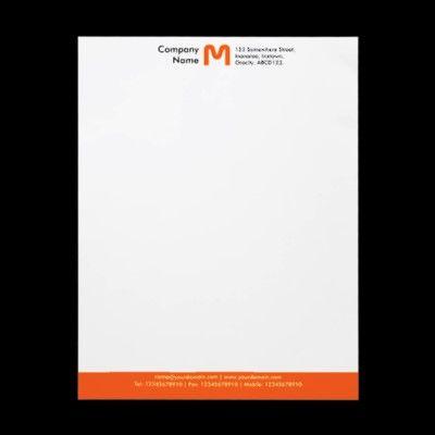 Monogram Color Footer Orange Letterhead Zazzle Com Letterhead Letterhead Template Letterhead Design