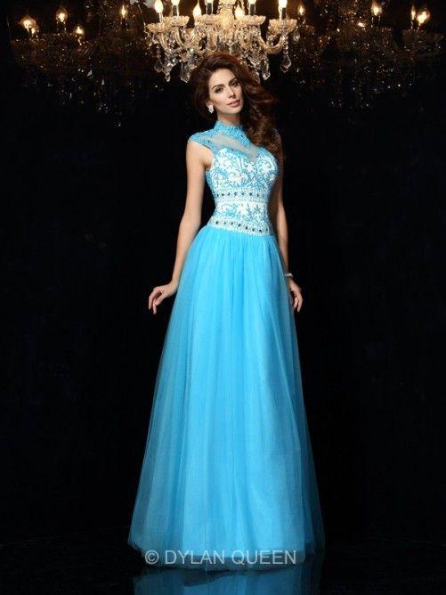 A Line Princess High Neck Sleeveless Applique Floor Length Satin Dresses