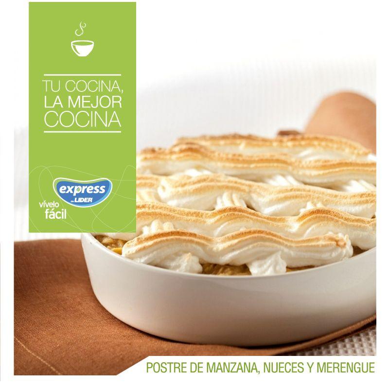 Postre de manzana, nueces y merengue. #Recetario #Receta #RecetarioExpress #Lider #Food #Foodporn #Dessert