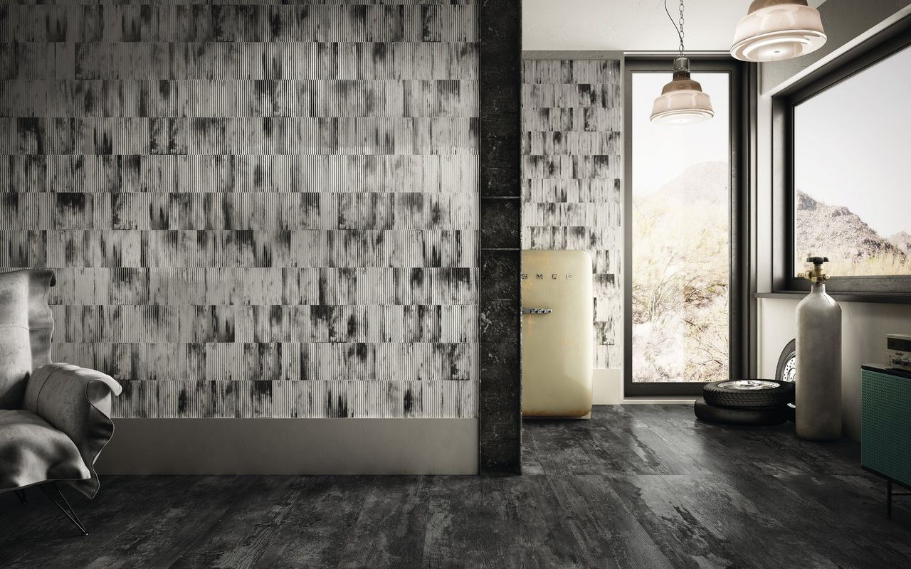 Ribbed oxide White Floor and Wall Tiles Iris Ceramica