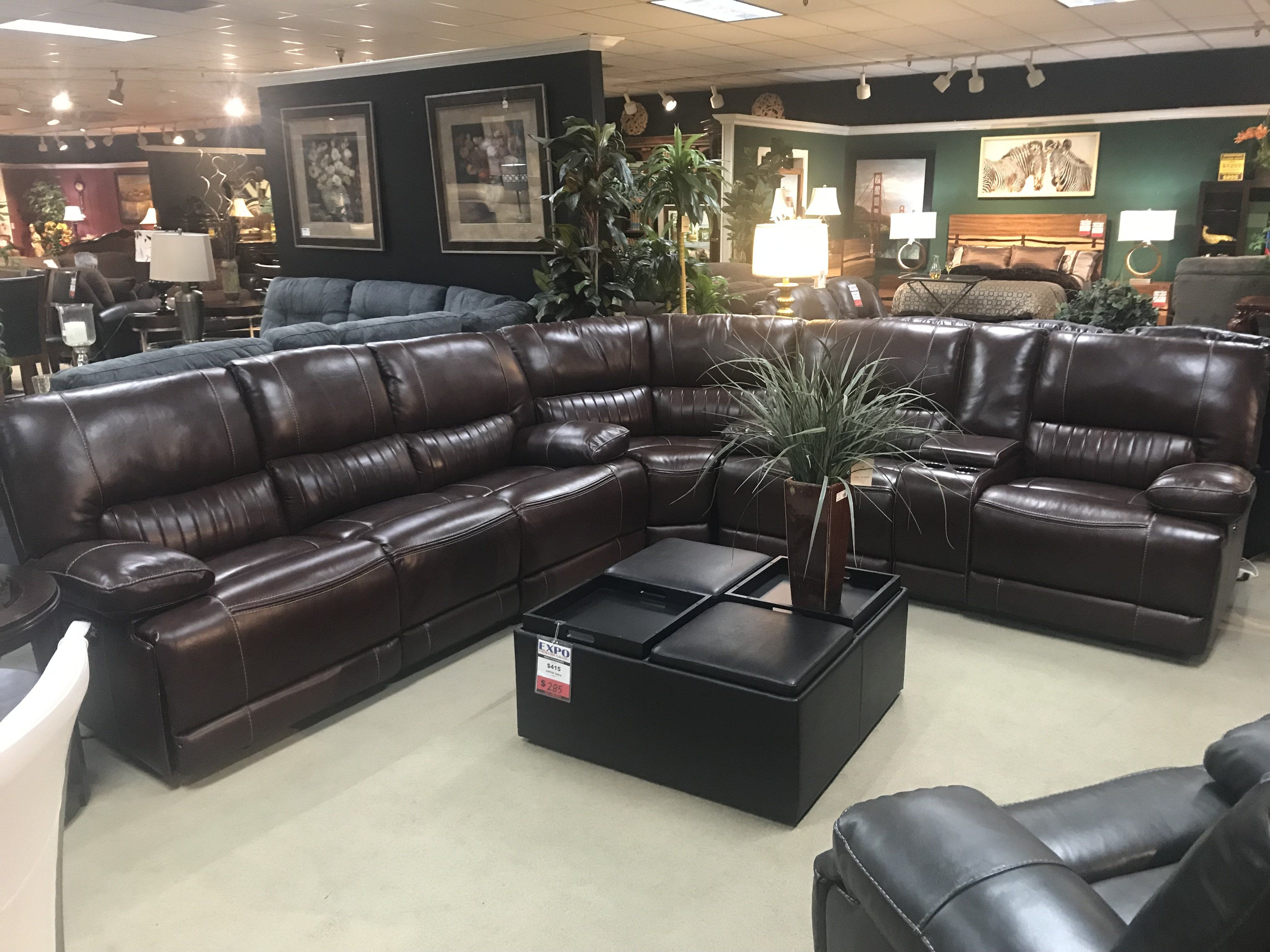 Demarco Power Reclining Leather Sectional Leather Reclining