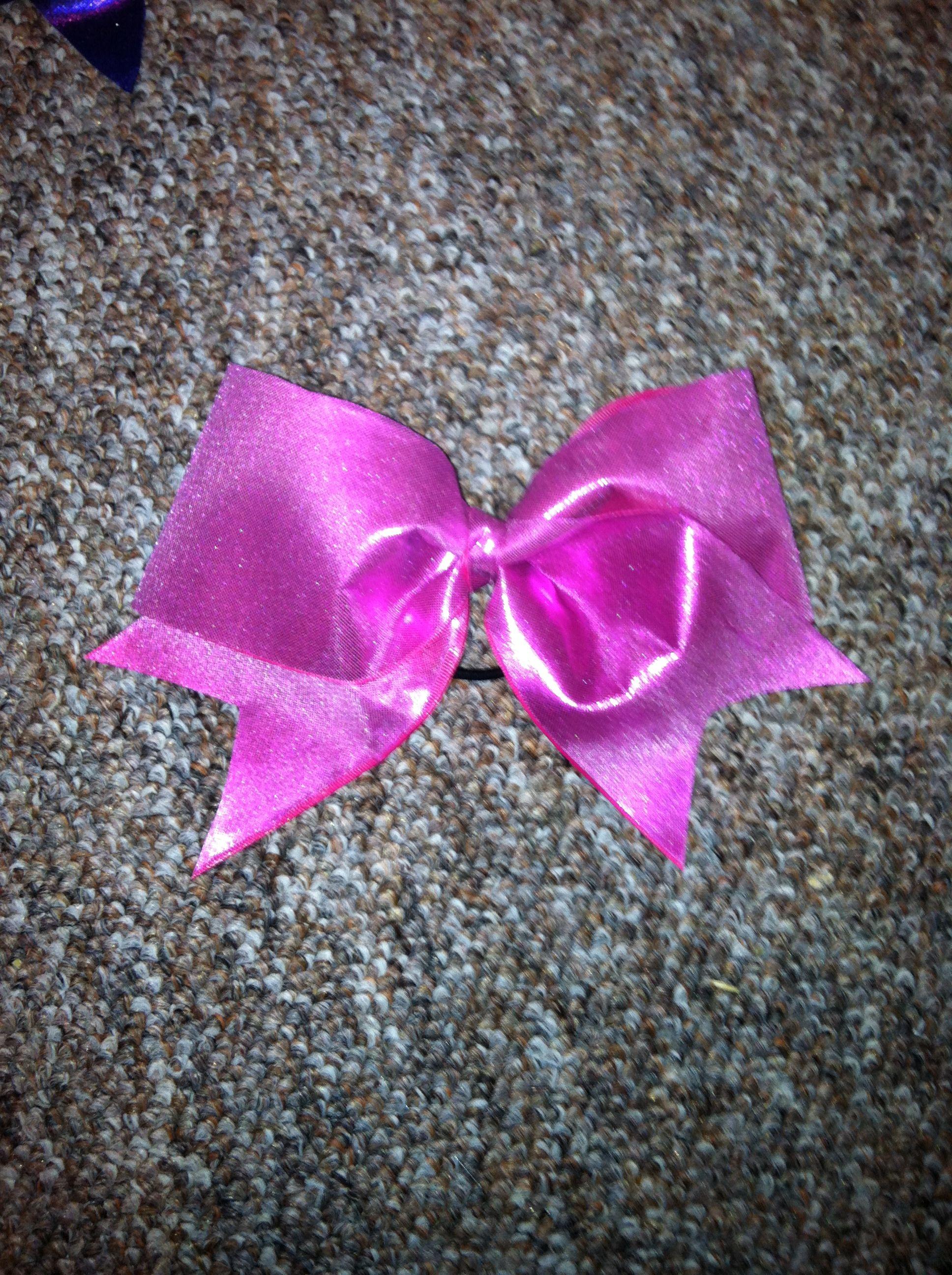 3 inch hot pink metallic cheer bow