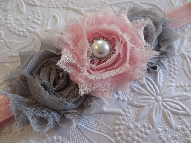 Items similar to Grey & Light Pink Shabby Chic Flower Headband. Baby Hair Accessories. Girl Hair Accessories. Baby Girls. Gray and Pink. Baby Headband on Etsy