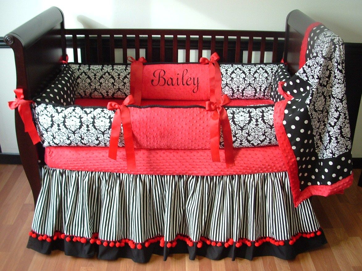 red & black damask baby bedding included in this set is the bumper
