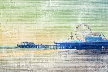 'Santa Monica Pier green grey Canvas' by stine1 on artflakes.com as poster or art print $16.63