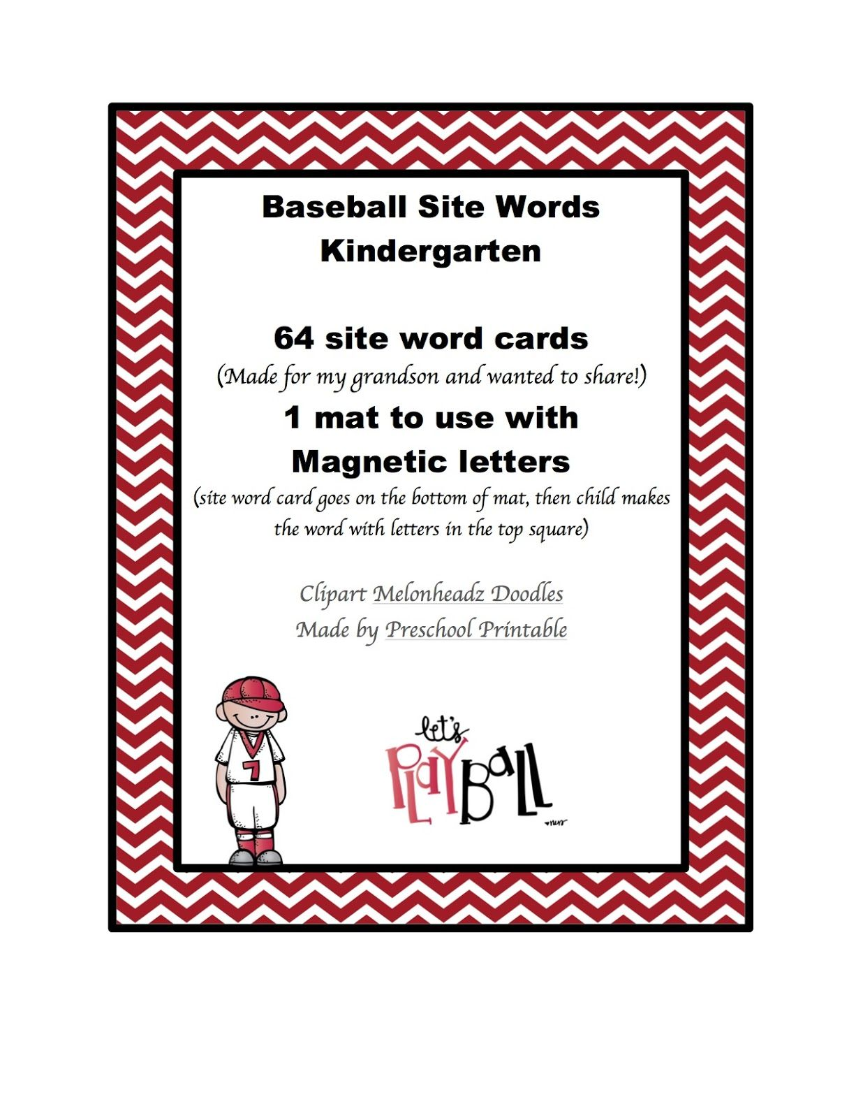 Preschool Printables Free Baseball Site Words For
