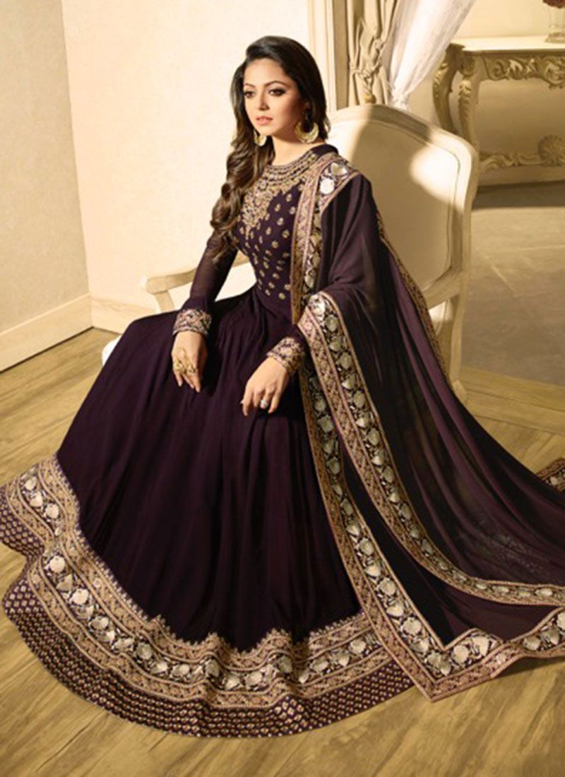 432df85a73 Buy Drashti Dhami wine color georgette party wear anarkali kameezin UK, USA  and Canada