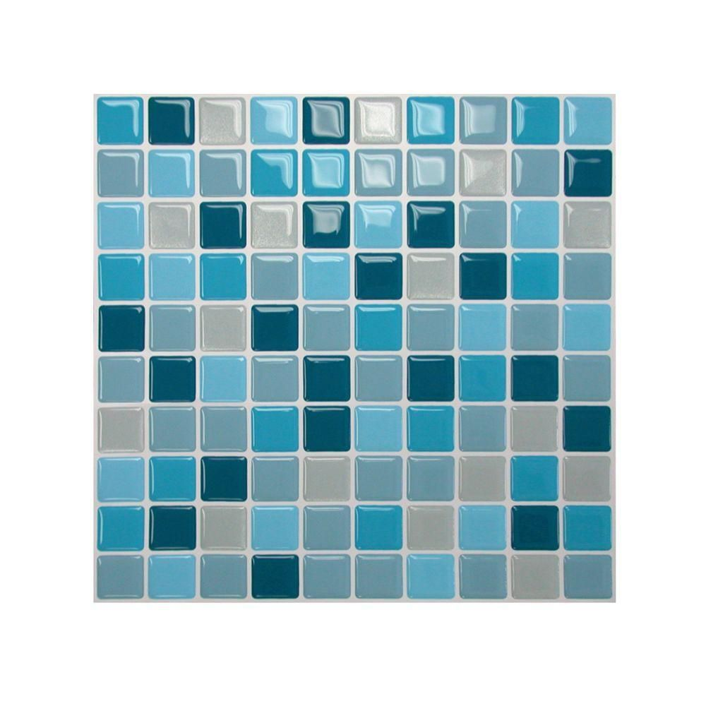 Smart Tiles 10 in. x 10 in. Multi Colored Peel and Stick Lagoon ...