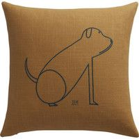 "CB2 - January Catalog 2016 - Dog 16"" Pillow With Down-alternative Insert"