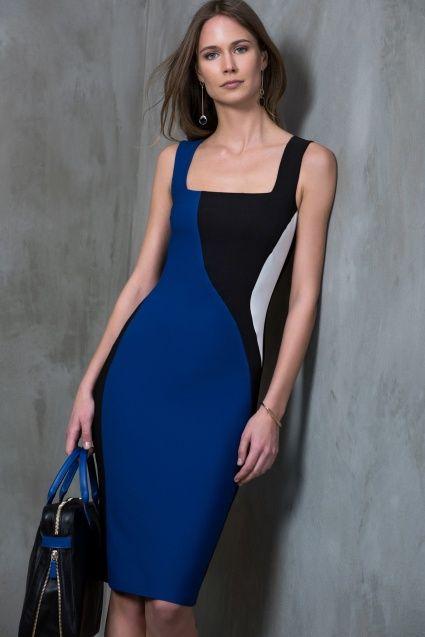 Siyah Beyaz Saks Colourblock Elbise MLWSS16BB1516
