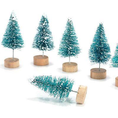 12psc Mini Sisal Bottle Brush CHRISTMAS TREES Snow Frost Village Putz Great Gift