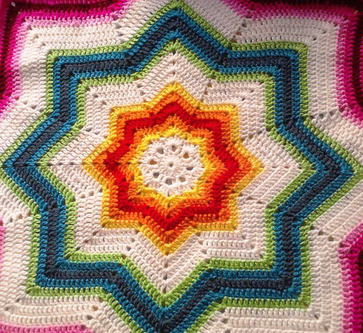 My 8 Pointed Star Crochet Throw Afghans Round Ripple 8
