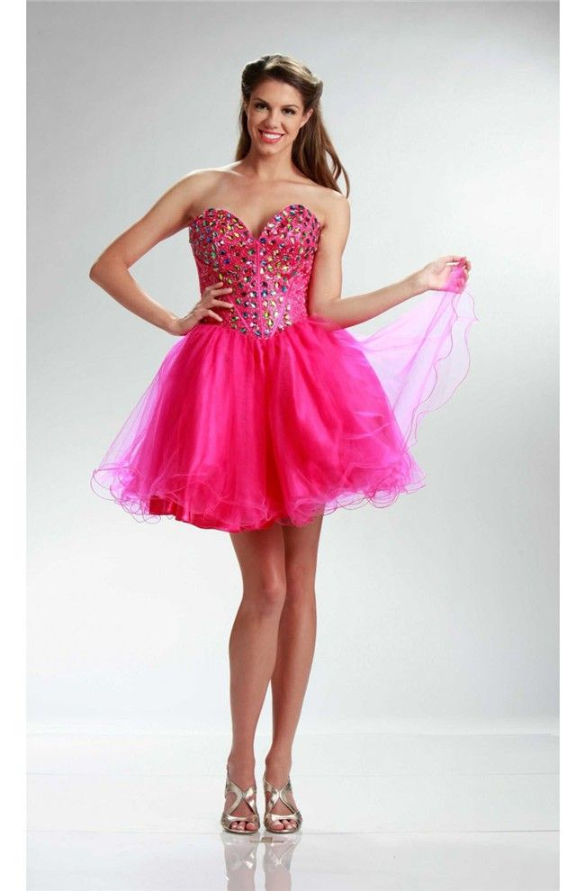 Ball Sweetheart Short Hot Pink Tulle Beaded Cocktail Prom Dress ...