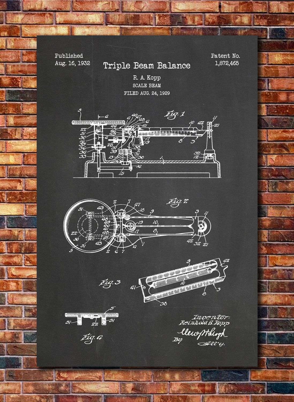 Triple Beam Balance Patent Print Art With Images