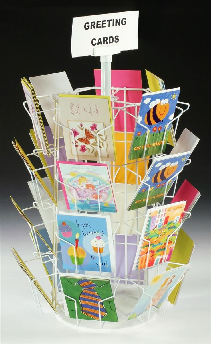 Rotating greeting card display w sign clip countertop 24 pockets rotating greeting card display w sign clip countertop 24 pockets white kristyandbryce Images