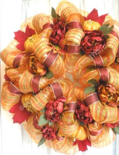 combine decorative mesh and ribbons to make a beautiful fall wreath come on in to old time pottery for great deals on the decor supplies you need