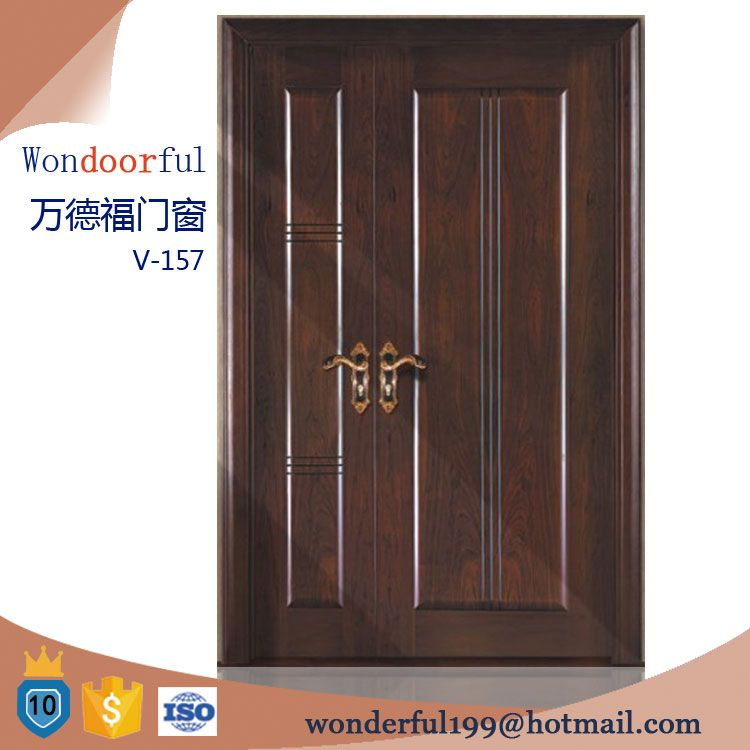 Teak wood main entrance wooden double door designs for Main entrance door design