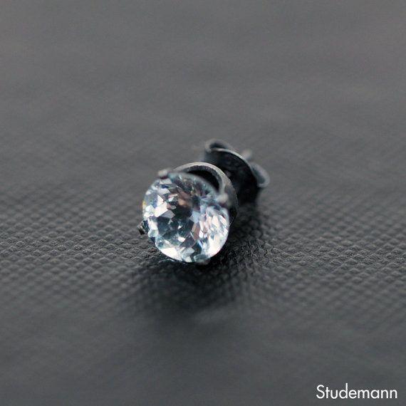 Sky Blue Topaz Oxidized Sterling Silver Ear Stud by Studemann #men #women #unisex #Jewelry #ear  #studs #earrings #silver