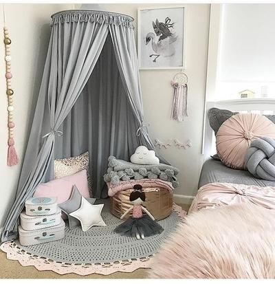 Photo of Tassel Decoration Round Dome Princess Bed Canopy- Gray