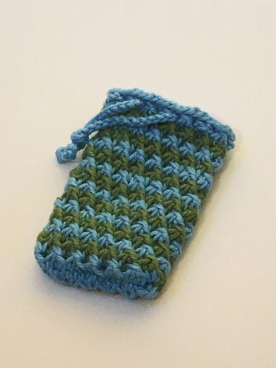 Knit Soap Saver Bag Blue Green Soap Sachet Cotton Soap Sack Soap