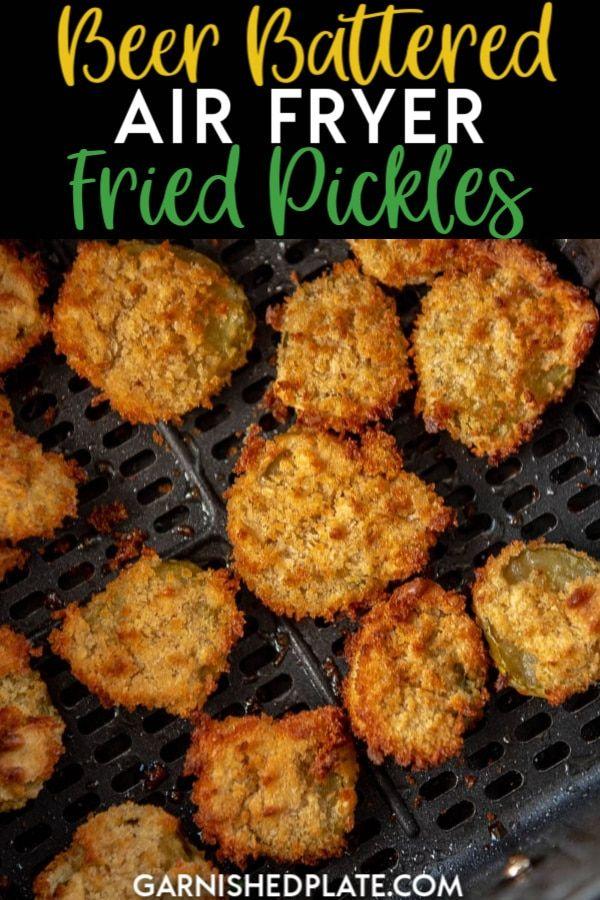 Beer Battered Air Fryer Fried Pickles - Garnished Plate