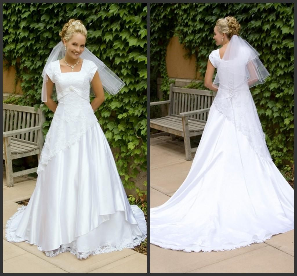 Temperament country wedding dresses sleeves square lace up