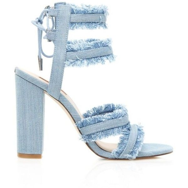 EVIRA DENIM SANDAL (€125) ❤ liked on Polyvore featuring shoes, sandals, fringe sandals, fringe shoes, denim shoes and denim sandals